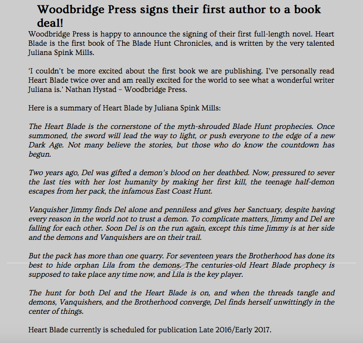 Publishing deal for Heart Blade – Juliana Spink Mills